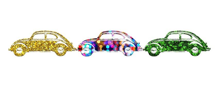 Car, Beetle, Colorful, Glitter, Silhouette, Auto
