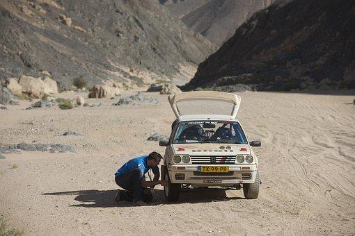 Car, Breakdown, Mechanic, Africa, Desert