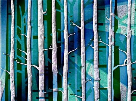 Trees, Digital, Woods, Forest, Tree, Fantasy, Moon