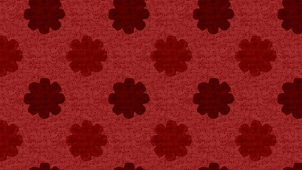 Floral, Pattern, Background, Flowers, Red, Polka