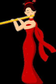 Woman, Flute, Musician, Music, Girl, Flutist, Red Dress