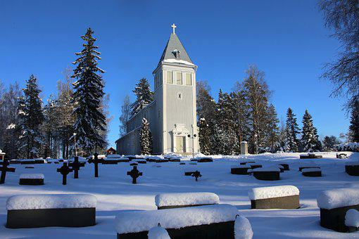 Church, Cemetery, Snow, Winter, Cold, Frost, Building
