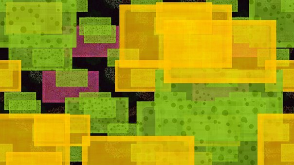 Squares, Geometric, Colorful, Yellow, Pink, Green