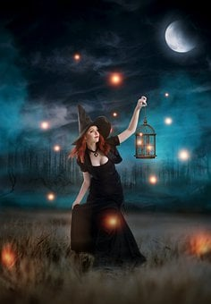 Woman, Fireflies, Forest, Witch, Moon, Hunt, Female
