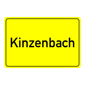 Kinzenbach, Town Sign, Place Name Sign, Shield