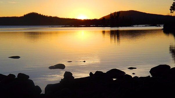 Sunset, Evening, Scenery, Landscape, Mountains, Lake