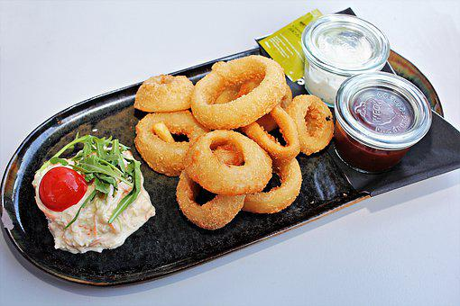 Onion, Rings, Onion Rings, Deep Fried