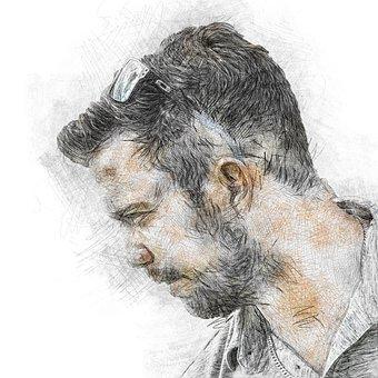 Man, Beard, Photo Art, Face, Male, Person, Model