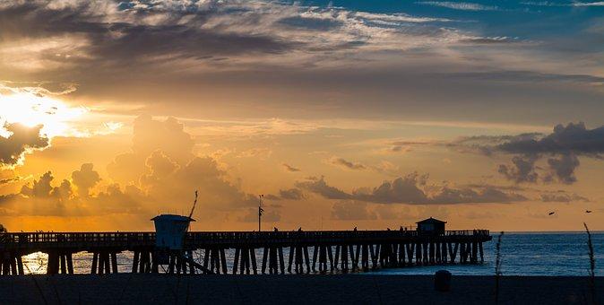 Pier, Beach, Ocean, Dock, Summer, Sky, Sunset, Coast