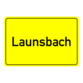 Launsbach, Town Sign, Place Name Sign, Shield