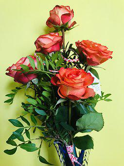 Roses, Red, Bloom, Blossom, Plant, Wedding, Petals