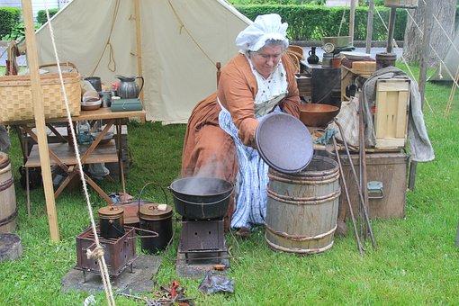 Colonial, Camp, Cook, Pot, Cauldron, Outdoor, Adventure