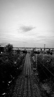 Railroad, Tracks, Railway, Horizon, Sky