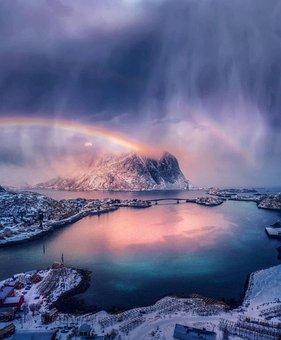Rainbow, Lake, Mountains, Alps, Alpine, Snow