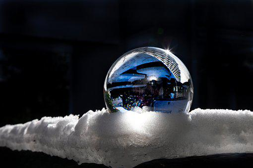Lensball, Winter, Snow, Reflection, Glass Ball