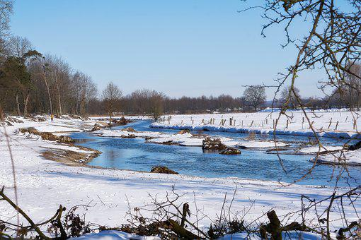 River, Bank, Winter, Snow, Ice, Cold, Frost, Water