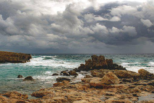 Storm, Beach, Rocks, Coast, Shore, Scenery, Sea, Nature