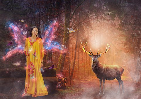 Fantasy, Magical World, Forest, Photomontage, Romantic