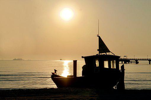 Sea, Boat, Sunset, Sunrise, Sun, Horizon, Silhouette