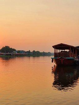 River, Lagoon, Harbor, Park, Ship, Twilight, Evening