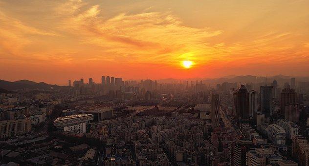 Sunset, City, Panorama, Buildings, Skyline, Skyscrapers