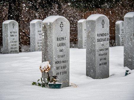 Veteran, Cemetery, Winter, Snow