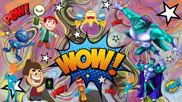 Robots, Superhero, Excitement, Cartoon, Character