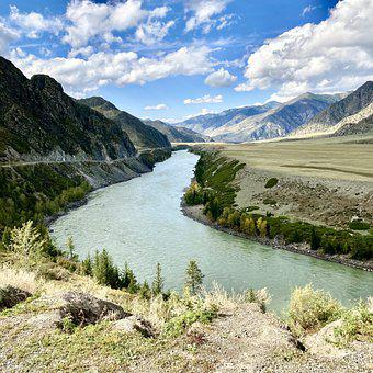 River, Katun, Mountains, Nature, Water, Travel, Russia