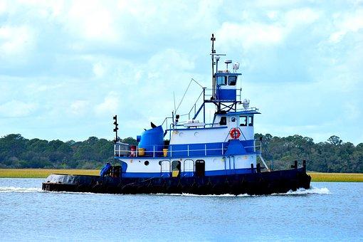 Tugboat, River, Tug, Boat, Water, Barge, Transportation