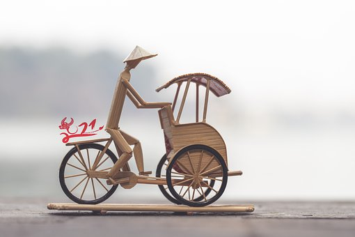 Rickshaw, Figure, Handmade, Vietnamese, Bicycle