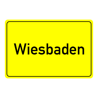 Wiesbaden, Town Sign, Place Name Sign, Shield