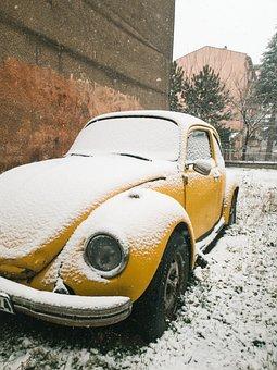 Beetle, Car, Snow, Winter, Yellow Car