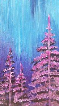 Abstract, Purple, Pine Trees, Nordic Light, Mood