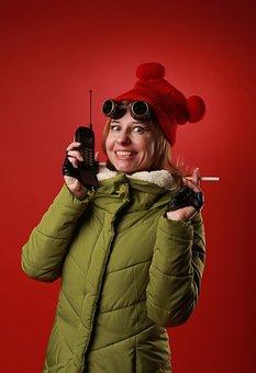 Woman, Walkie-talkie, Cigarette, Call, Girl, Adventurer
