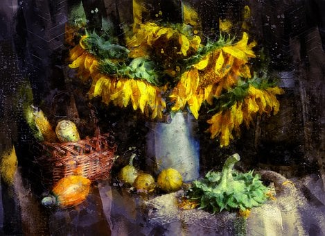Still Life, Sunflower, Bouquet, Flowers, Autumn, Fall