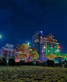 Night, Sky, Bluesky, Beach, Building, Lights