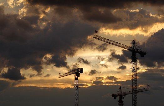 Cranes, Sunset, Clouds, Dusk, Twilight, Sky