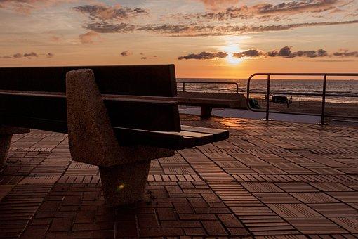 Bank, Sunset, De Haan, Netherlands, Coast, Sea, Sky
