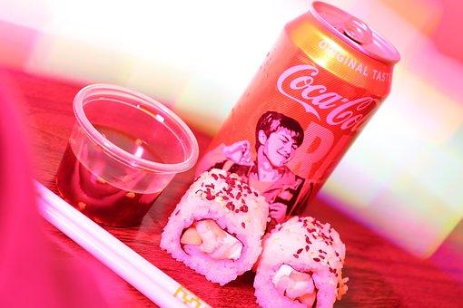 Sushi, Coca Cola, Dinner, Food, Sushi Lover, Soda