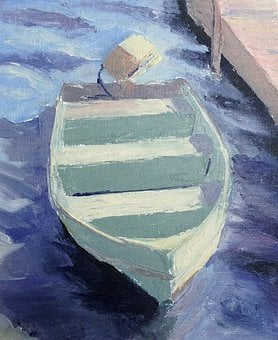 Boat, Rowboat, Dock, Painting, Oil Painting, Water