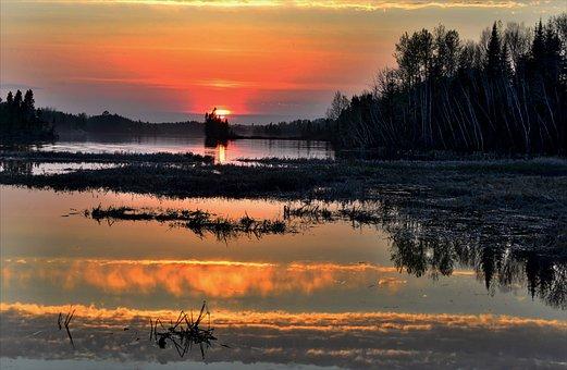 Landscape, Nature, Environment, Water, Lake, Trees, Sun
