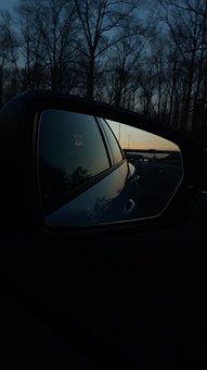 Mirror, Reflection, Car, Evening, Sunset, Mirroring