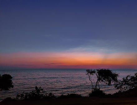Silhouette, Sea, Seaside, Evening, Blue, Bluesky, Red