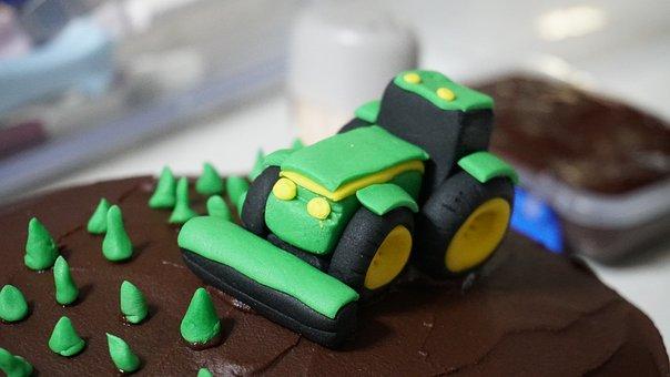Cake, Tractor, Green, Decoration, Food, Farmer