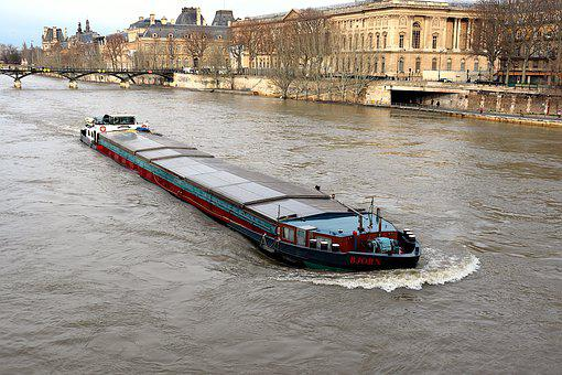 Peniche, Boats, River, Seine, Paris, France, Winter