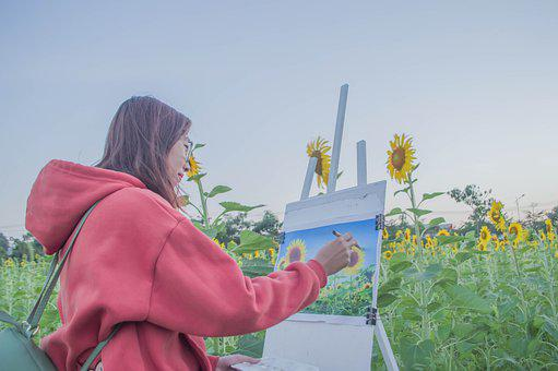 Flower, Draw, Girl, Asia, Drawing