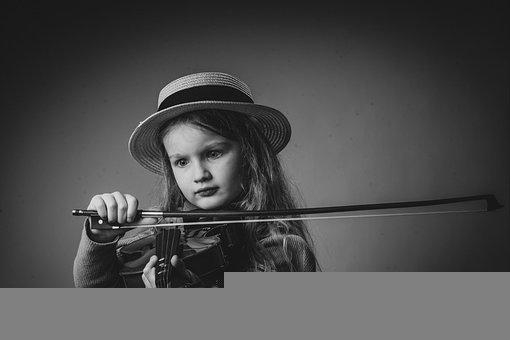 Little Girl, Violin, Monochrome, Girl, Child, Kid