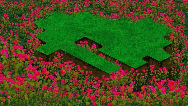 Isometric, Game, Art, Platform, Grass, Flowers