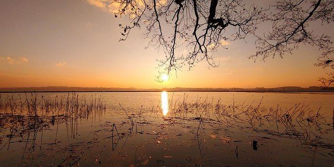 Słońce, Jezioro, Zachód Słońca