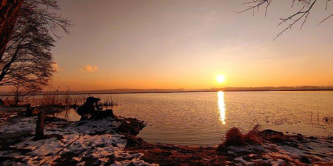 Słońce, Jezioro, Zachod Słońca